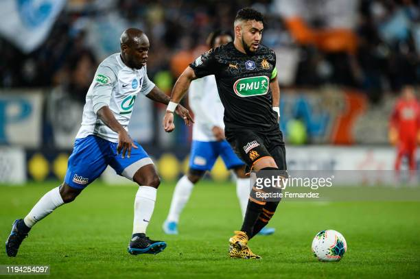 Ralph KOTTOY YAPANDE of Granville and Dimitri PAYET of Marseille during the French Cup Soccer match between US Granville and Olympique de Marseille...