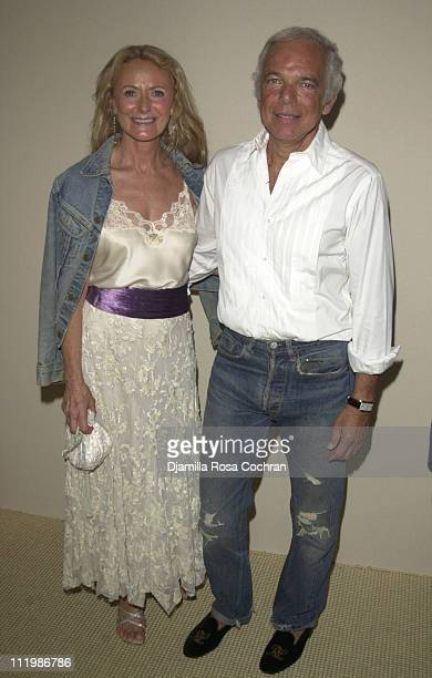 Ralph Lauren and wife during MercedesBenz Fashion Week Spring Collections 2003 Ralph Lauren Show Front Row at Cooper Hewitt Museum in New York City...