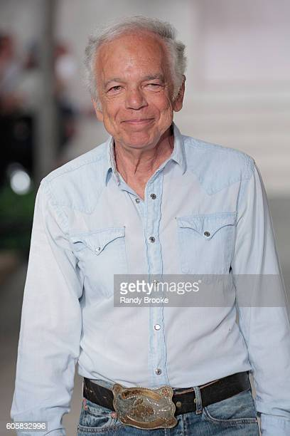 Ralph Lauren greets the audience at his Ralph Lauren Runway September 2016 New York Fashion Week show at Skylight Clarkson Sq on September 14, 2016...