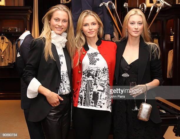 Ralph Lauren Models Charlotte DiCalypso Valentina Zelyaeva and Anastasia Khozzisova attend the Ralph Lauren celebration of Fashion's Night Out with...