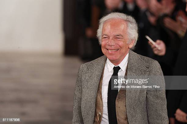 Ralph Lauren walks the runway during the Ralph Lauren show as a part of Fall 2016 New York Fashion Week at Skylight Clarkson Sq on February 18, 2016...