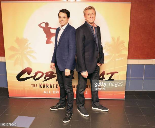 """Ralph Macchio and William Zabka surprise fans at a special screening of YouTube Red Original Series """"Cobra Kai"""" on April 25, 2018 in New York City."""