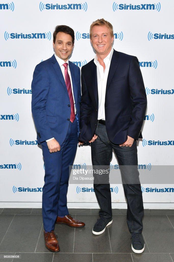 Ralph Macchio (L) and William Zabka visit SiriusXM Studios on May 1, 2018 in New York City.