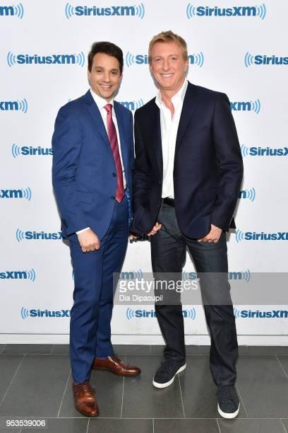 Ralph Macchio and William Zabka visit SiriusXM Studios on May 1, 2018 in New York City.
