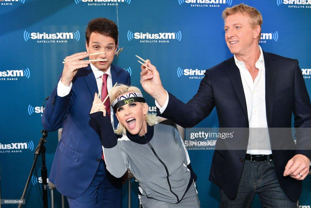 Ralph Macchio, Jenny McCarthy, and William Zabka at SiriusXM Studios on May 1, 2018 in New York City.