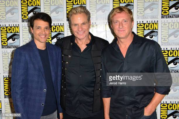 Ralph Macchio Martin Kove and William Zabka attend Cobra Kai press line at Hilton Bayfront on July 18 2019 in San Diego California