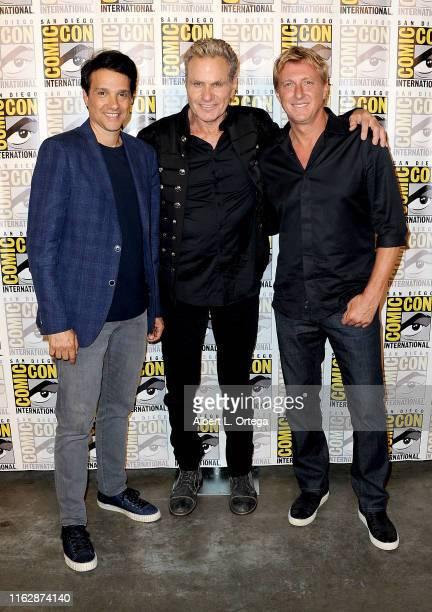 "Ralph Macchio, Martin Kove and William Zabka attend the ""Cobra Kai: Past, Present, And Future"" panel during 2019 Comic-Con International at San Diego..."