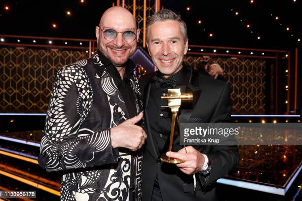 Ralph Morgenstern and Dirk Steffens during the Goldene Kamera after show party at Tempelhof Airport on March 30 2019 in Berlin Germany