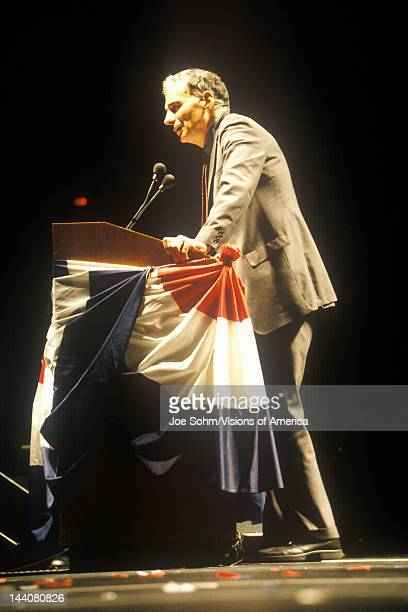 Ralph Nader speaking from podium at 1992 campaign rally at Long Beach Arena CA