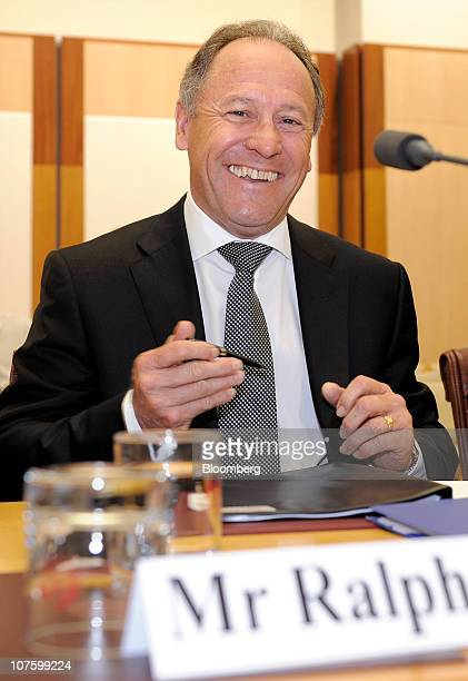 Ralph Norris chief executive officer of Commonwealth Bank of Australia appears before the public hearing of a Senate Economics Committee inquiry into...