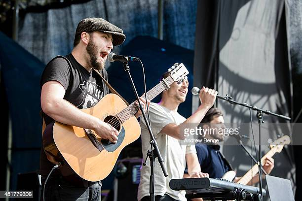 Ralph Pelleymounter Ben Jackson and Josh Platman of To Kill A King perform on stage to celebrate the Tour De France coming to Muker at King Of The...