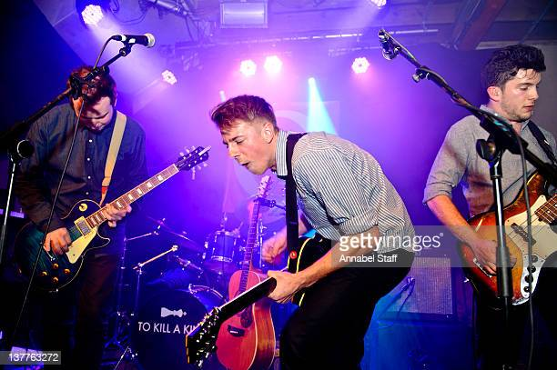 Ralph Pellymounter, Ian Dudfield and Josh Platman of To Kill A King perform on stage during 'Q Now: The Sessions' at XOYO on January 25, 2012 in...