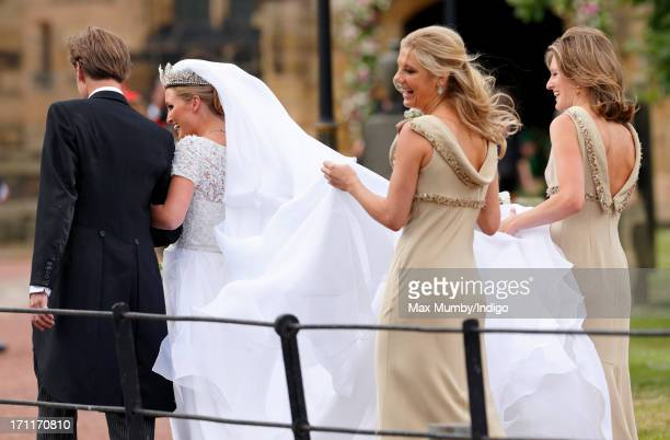 Ralph Percy Duke of Northumberland escorts daughter Lady Melissa Percy accompanied by her bridesmaids Chelsy Davy and Lady Catherine Valentine to St...