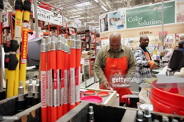 Ralph Polk and Fred James work in the paint department at a Home Depot store February 21 2006 in Chicago Illinois Home Depot the nation's largest...