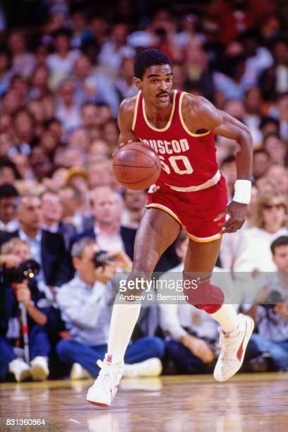 Ralph Sampson of the Houston Rockets dribbles against the Los Angeles Lakers during a game played circa 1986 at the Great Western Forum in Inglewood...