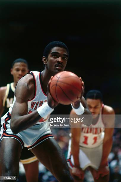 Ralph Sampson of the Virginia Cavaliers takes a foul shot during the 1983 NCAA game in Virginia. NOTE TO USER: User expressly acknowledges and agrees...