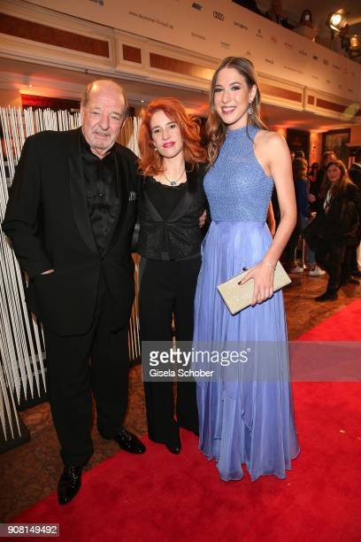 Ralph Siegel and his girlfriend Laura Kaefer and daughter Alana Siegel during the German Film Ball 2018 party at Hotel Bayerischer Hof on January 20...