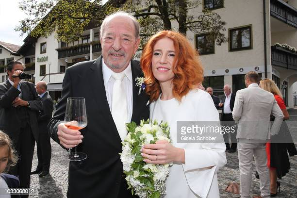 Ralph Siegel and his wife Laura Siegel after their civil wedding at the registry office Gruenwald on September 14 2018 in Munich Germany