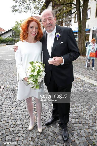 Ralph Siegel and Laura Kaefer pose during their civil wedding at the registry office Gruenwald on September 14 2018 in Munich Germany