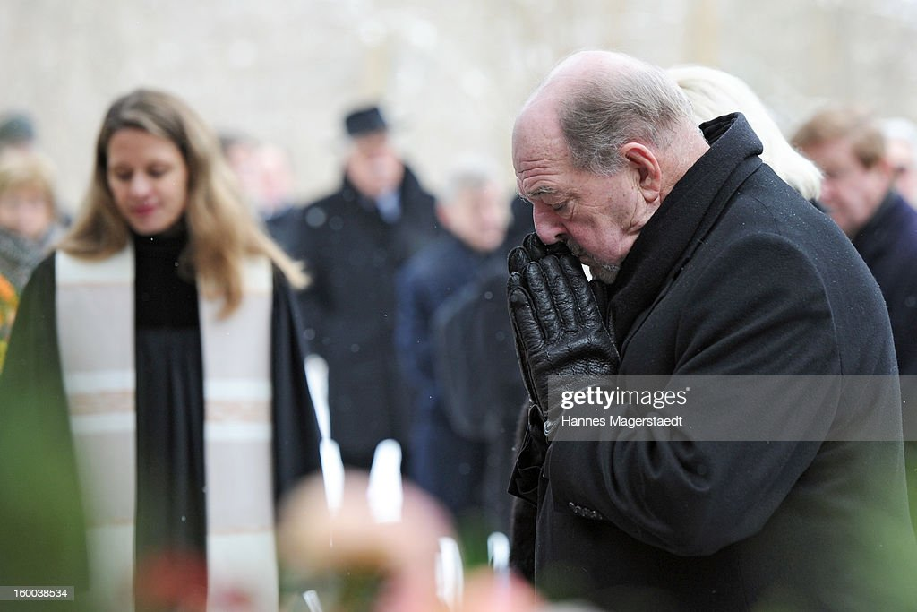 Ralph Siegel attends the memorial service for Steffen Kuchenreuther at the Waldfriedhof on January 25, 2013 in Munich, Germany.