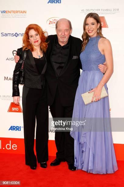 Ralph Siegel his girlfriend Laura Kaefer and his daughter Alana Siegel attend the German Film Ball 2018 at Hotel Bayerischer Hof on January 20 2018...