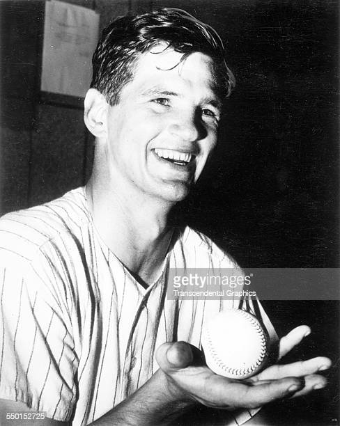 Ralph Terry, pitcher for the New York Yankees, shows off the game ball after a win at Yankee Stadium, New York, New York, 1960.