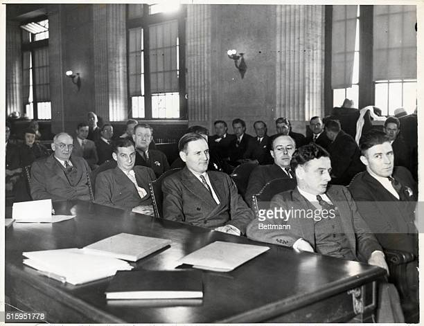 Ralph Touhy with co defendents Eddie McFadden Albert Kator and Gus Schaefer during Chicago kidnapping trial Photograph 1/16/1934