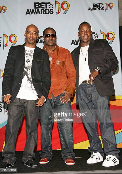 Ralph Tresvant Johnny Gill and Bobby Brown of the group New Edition pose in the press room at the 2009 BET Awards at the Shrine Auditorium on June 28...