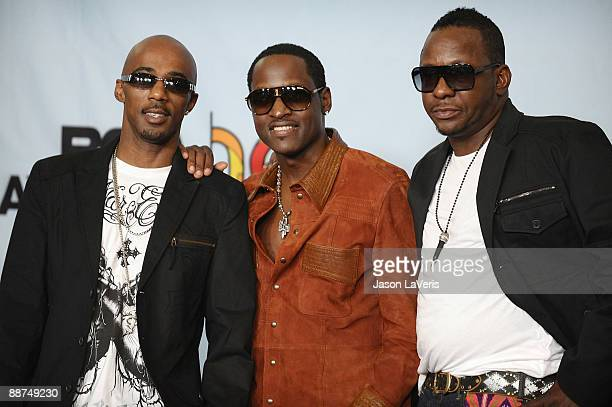 Ralph Tresvant Johnny Gill and Bobby Brown of the group New Edition and Heads Of State pose for photos in the press room at the 2009 BET Awards at...