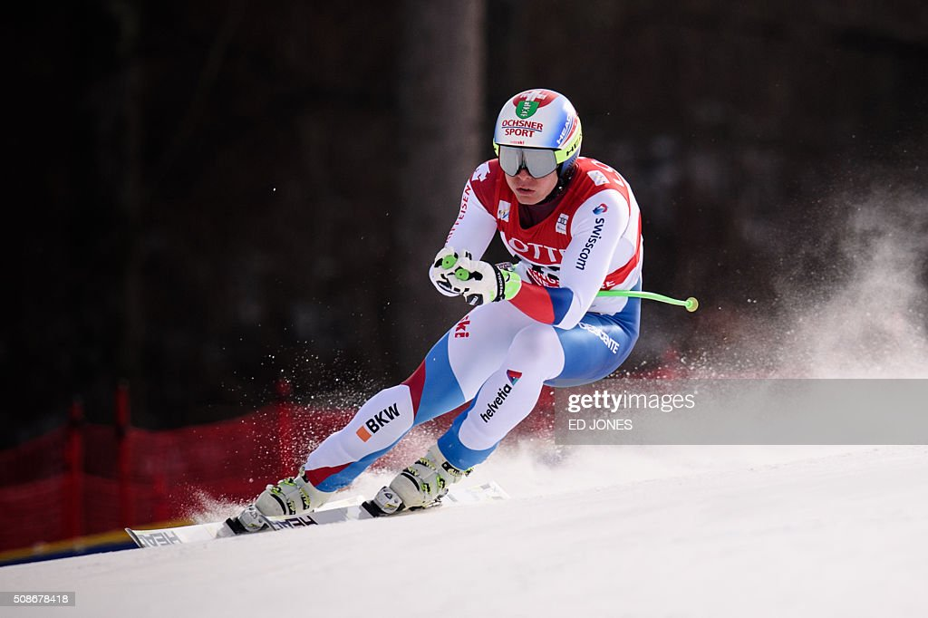 Ralph Weber of Switzerland competes in the 8th Men's Downhill event of the FIS Alpine Ski World Cup in Jeongseon county, some 150km east of Seoul on February 6, 2016. The FIS Ski Men's World Cup runs from February 6-7 and is the first official test event for the Pyeongchang 2018 Winter Olympics. AFP PHOTO / Ed Jones / AFP / ED