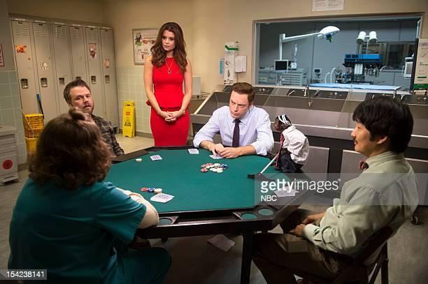 "Ralphie"" Episode 102 -- Pictured: Betsy Sodaro as Angela, Tyler Labine as Dr. Doug Jackson, JoAnna Garcia Swisher as Dorothy Crane, Justin Kirk as..."