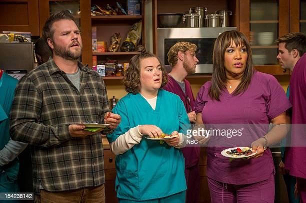 "Ralphie"" Episode 102 -- Pictured: Tyler Labine as Dr. Doug Jackson, Betsy Sodaro as Angela, Kym Whitley as Juanita --"