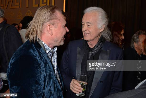 RalphJoerg Wezorke and Jimmy Page attend the launch of Led Zeppelin by Led Zeppelin the official illustrated book marking the 50th anniversary of...