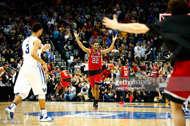 Ralston Turner of the North Carolina State Wolfpack celebrates during the closing moments of their 7168 win over the Villanova Wildcats during the...