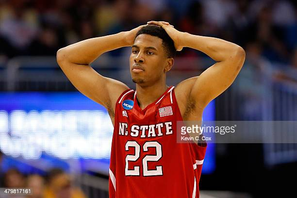 Ralston Turner of the North Carolina State Wolfpack reacts after missed basket against the Saint Louis Billikens during the second round of the 2014...
