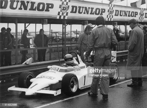 Ralt RT3 in pits, Ayrton Senna, Formula 3 at Thruxton 3rd March 1983. Creator: Unknown.