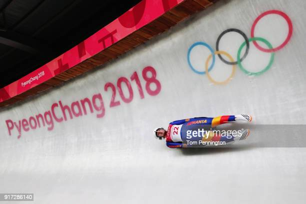 Raluca Stramaturaru of Romania slides during the Women's Singles Luge run 1 at Olympic Sliding Centre on February 12, 2018 in Pyeongchang-gun, South...