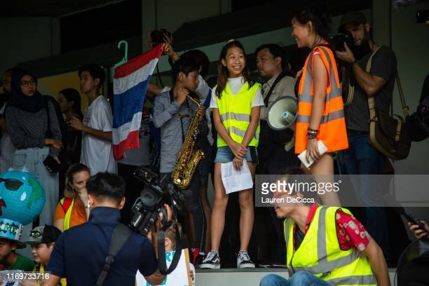 Ralyn Lilly Satidtanasarn a climate change activist and youth leader protests in front of the Ministry of Natural Resources and Environment on...
