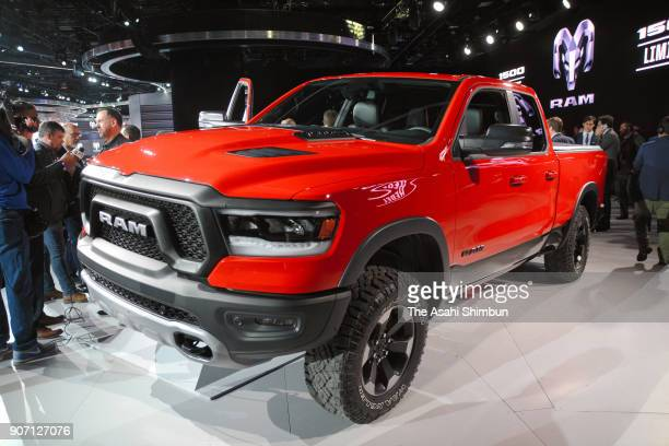 2019 Ram 1500 pickup truck of the Fiat Chrysler Automobiles is displayed at the North American International Auto Show on January 15 2018 in Detroit...