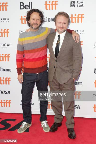 """Ram Bergman and Rian Johnson attend the """"Knives Out"""" premiere during the 2019 Toronto International Film Festival at Princess of Wales Theatre on..."""