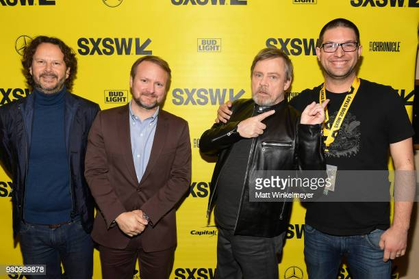 Ram Bergman Rian Johnson Mark Hamill and Blake Kammerdiener attend the 'The Director and The Jedi' Premiere 2018 SXSW Conference and Festivals at...