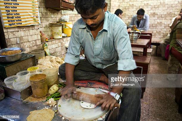 Ram Billas making paratha at Parawthe Wala restaurant in Old Delhi India Gali Paranthe Wali or Paranthe wali Gali means the the street of fried bread...