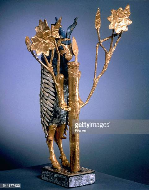 Ram Caught in a Thicket from the royal cemetery at Ur 2550 BC Gold lapis lazuli copper shell red limestone bitumen height 426 cm Located in the...