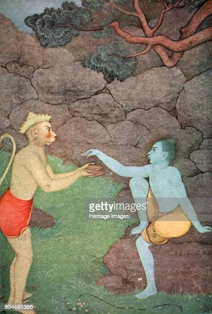 Rama sending his signetring to Sita 1913 A scene from the Hindu epic the Ramayana Hamuman the greatest of the vanaras a monkey race prepares to go in...