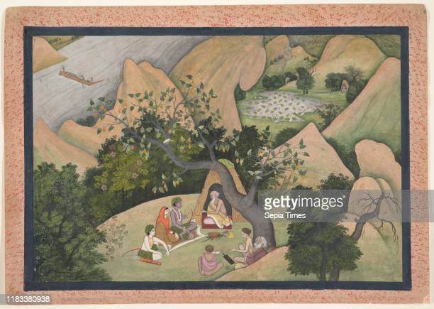 Rama, Sita, and Lakshmana at the Hermitage of Bharadvaja: Folio from a Ramayana Series, circa 1780, India , Opaque watercolor and ink on paper, Page:...