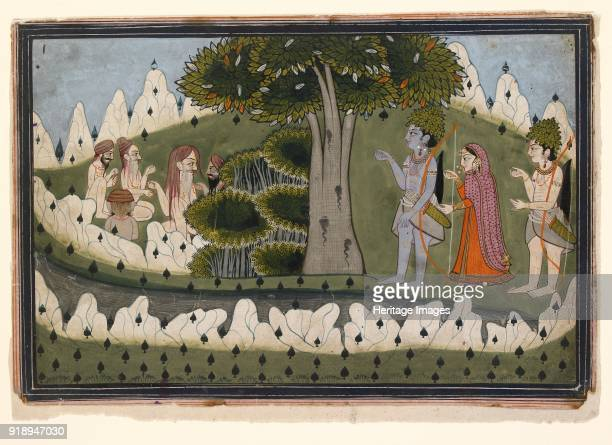 Rama Sita and Laksmana in a landscape with ascetics circa 1830 Dimensions height x width mount 405 x 555 cmheight x width page 145 x 214 cmheight x...