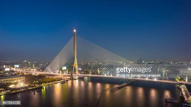 Rama VIII Bridge at twilight time. Bangkok, Thailand