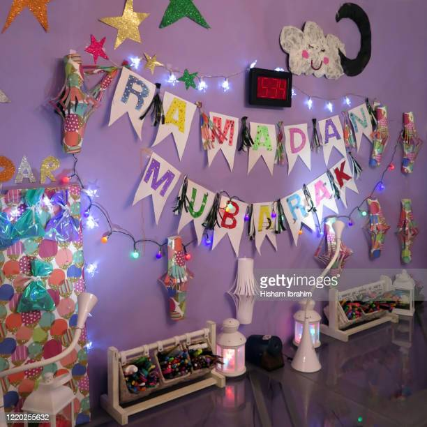 ramadan decoration in kids bedroom inside a house in the usa. - ramadan decoration stock pictures, royalty-free photos & images