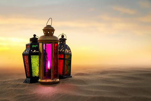 Ramadan Lantern on desert Sand dunes 514263228
