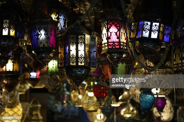 Ramadan lanterns are on sale at a shop near the AlAqsa Mosque in preparations for the Muslims' holy fasting month of Ramadan in Jerusalem on May 27...